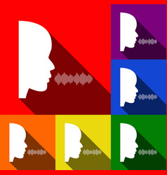 people speaking or singing sign set of vector image