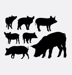 Pig animal silhouettes vector