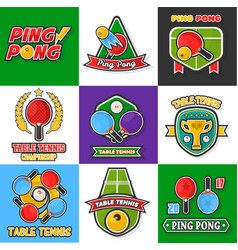 ping pong or table tennis icons vector image