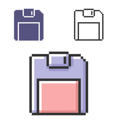 Pixel icon floppy disk in three variants fully vector