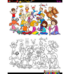 Playful children characters group coloring book vector