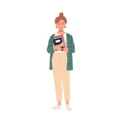 portrait young university student standing vector image
