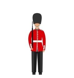 Queens guard man in traditional uniform vector
