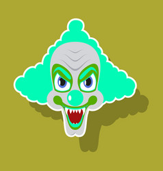 Realistic paper sticker on theme humor clown vector