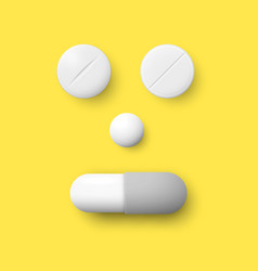 Realistic white pills capsule and granule vector
