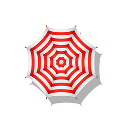 Red and white striped beach umbrella with shadow vector