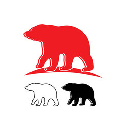 red bear line silhouette and logo vector image