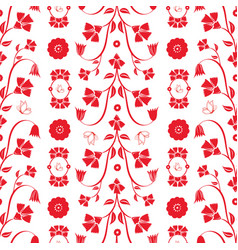 redwork flowers and butterflies repeat pattern vector image