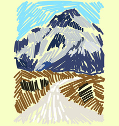 road to mountain on white background vector image