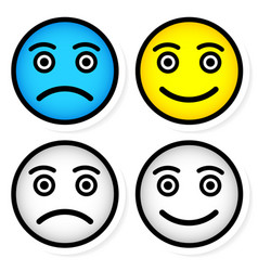 Sad and happy smileys vector