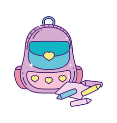 School backpack with crayons color and paper vector