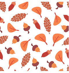 seamless autumn leaves cones and acorns pattern vector image
