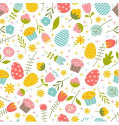 Seamless background on easter theme vector