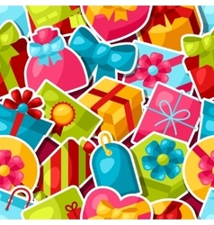 Seamless celebration pattern with colorful sticker vector image vector image
