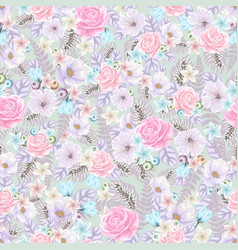 Seamless pattern with flowers on light background vector