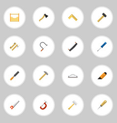 Set of 16 editable tools flat icons includes vector
