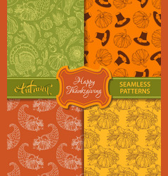Set of duotone seamless Thanksgiving patterns vector