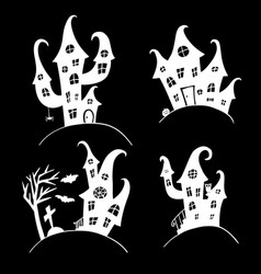 set of houses for halloween party mystical castle vector image