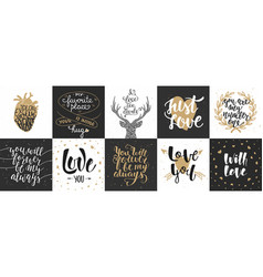 set romantic and love hand drawn unique vector image