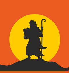 Silhouette of moses vector