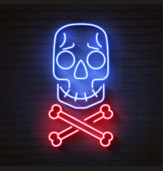 skull and bones neon signskull and crossed bones vector image