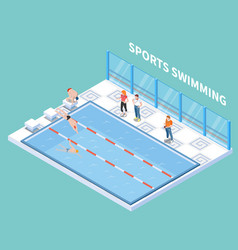 sports swimming isometric composition vector image