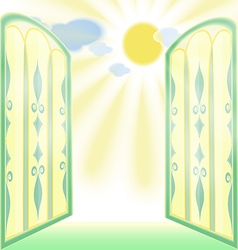 Stained-glass open window vector