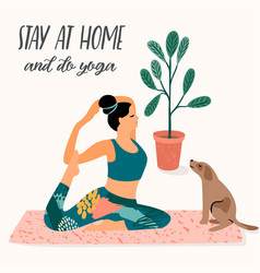 Stay at home young woman does yoga vector