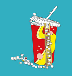 Sugar cube character queueing into soda drink vector