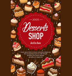 Sweet dessert cakes bakery pastry shop food vector