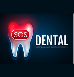 Toothache tooth treatment with motion lights sos vector