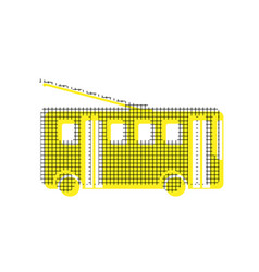 Trolleybus sign yellow icon with square vector
