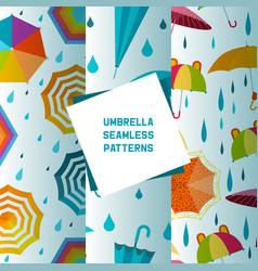 Umbrella open and closed set seamless patterns vector