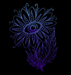 vintage fantasy flower with eye blue gradient vector image