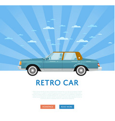 Website design with classic retro sedan vector