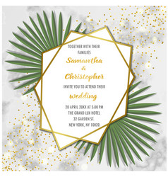 wedding glamorous invitation with palm leaves vector image