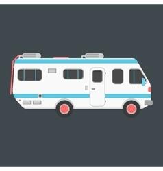 White travel camper van isolated on dark vector