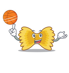 With basketball farfalle pasta character cartoon vector