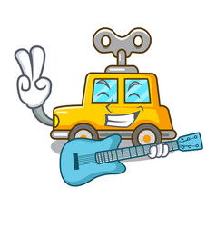 With guitar cartoon clockwork toy car for gift vector