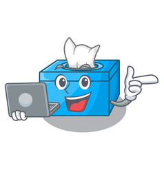 With laptop character tissue box on wood floors vector