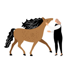 woman and horse isolated vector image