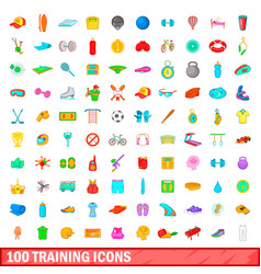 100 training icons set cartoon style vector image