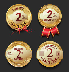 anniversary retro golden labels collection 2 years vector image