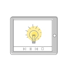 Lamp Isolated on Tablet Screen Video Marketing vector image