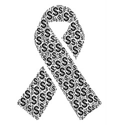 mourning ribbon composition of dollar vector image vector image
