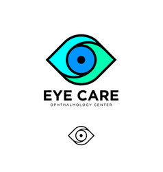 ophthalmology clinic flat logo eye care emblems vector image vector image