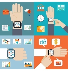 Payment and financial news via smart watch vector image vector image