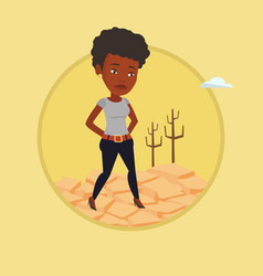 Sad woman in the desert vector