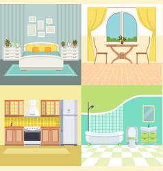 set modern interior of living house vector image
