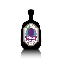 Black bottle with fruit label vector image vector image